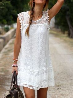 Cheap dress bachelorette party, Buy Quality dresses evening party directly from China dress up girls for kids Suppliers: 2015 Summer Women Vestidos Boho Embroidered Floral Bohemian Sexy Casual White Lace Crochet Beach Wear Mini Party Dres Bohemian Chic Fashion, Bohemian Mode, Bohemian Style, Beach Fashion, Ibiza Style Fashion, Earthy Style, White Bohemian, Modern Bohemian, Mode Hippie