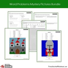 Grade 2 Word Problems Mystery Pictures Coloring Worksheets - Castle, Knight 2nd Grade Math Worksheets, Teacher Worksheets, Second Grade Math, Grade 2, Addition Words, Problem Set, Coloring Worksheets, Bar Graphs, Addition And Subtraction