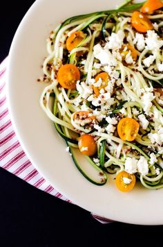 "Garden fresh Zucchini in abundance? This Gluten Free Quinoa Salad with Lemon Dill Dressing is a great way to use your ""zoodles"". #wendypolisi WendyPolisi.com #glutenfeedinner"