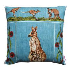 Vintage Retro Australian Kangaroos Cushion | Merry-Go-Round on Madeit Advance Australia Fair, Merry Go Round, Kangaroos, Creative Words, Blue Backgrounds, Cushion Covers, Retro Vintage, Handmade Items, Cushions