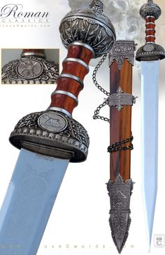 Large Image of Silver Tone Roman Gladius Sword with Sheath and stand 926625…
