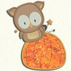 Adorable Applique owl in pumpkin