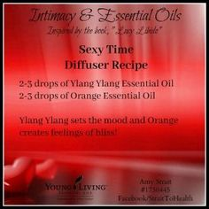 Tonight's the night for a diffuser recipe so I am sharing one to help set the mood in the bedroom.  I really like this particular combination: Ylang Ylang essential oil sets the mood and balances the male/female energy.  Orange essential oil helps to let go of stress and creates feelings of bliss.  Since all of those things are good as we set a mood for intimacy in the bedroom, this is a great blend to get things moving in the right direction. #365DaysOfOils