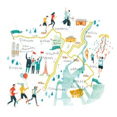 Love this Tokyo map by Masako Kubo Travel Illustration, Graphic Illustration, Sitemap Design, Tokyo Map, Visual Map, Mental Map, Travel Maps, Illustrations And Posters, Map Art