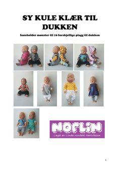 Items similar to Sy kule klær til dukken - papirmønster on Etsy Clothing Patterns, Doll Clothes, Dolls, Trending Outfits, Handmade Gifts, Etsy, Shopping, Design, Baby Dolls