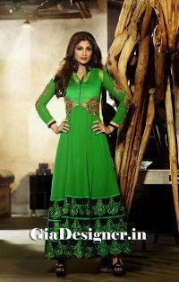 Perrot Green Shilpa Shetty Reshmi Embroidered Anarkli Bollywood Replica Suit