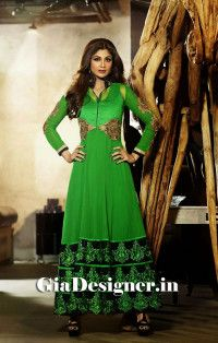Perrot Green Shilpa Shetty Reshmi Embroidered Anarkli Bollywood Replica Suit