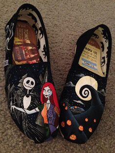 One of my favorite Tim Burton films!!!❤️❤️Nightmare Before Christmas Custom TOMS Shoes by alexandrialeigh1