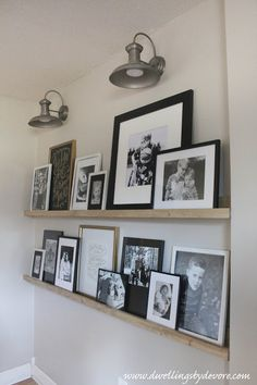 DIY picture ledge wall with farmhouse sconces DIY picture ledg. DIY picture ledge wall with farmhouse sconces DIY picture ledge wall with farmhou Family Pictures On Wall, Family Picture Displays, Family Picture Walls, Wall Decor With Pictures, Family Picture Collages, Wall Photos, Picture Shelves, Photo Shelf, Picture On The Wall