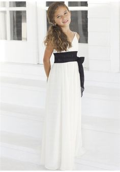 Green or black sash Flower Girl Dresses  Chiffon   Fashion  2013  Ivory  with a black sashes $69.00