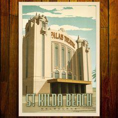 Palais Theatre, St Kilda Beach, Melbourne Sandstone Color, Melbourne Art, Art Deco Pattern, St Kilda, Mid Century Art, Vintage Advertisements, Ads, Vintage Travel Posters, Large Prints