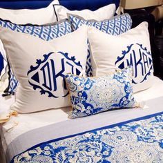 A day trip to Nell Hills in Kansas City. The most amazing monogrammed pillows. Blue And White Bedding, White Bedroom, White Linens, Blue Bedrooms, Blue And White Fabric, Blue Bedding, Master Bedrooms, Monogram Bedding, Enchanted Home