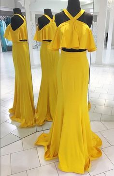 Two Piece Yellow Long Prom Dress with Ruffle,Prom Dresses,Evening Dress, Prom Gowns, Formal Women Dress Winter Formal Dresses, Formal Dresses For Women, Ladies Dresses, Long Dresses, Formal Outfits, Dress Winter, Tight Dresses, Club Dresses, Maxi Dresses
