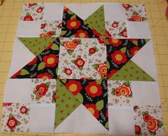 Blueberry Pie     This is one of my favorite blocks in this quilt along.  I couldn't decide whether to put a print in that center star or l...