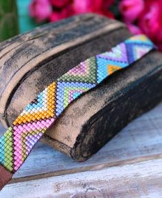 Hand Loomed Colorful Beaded Bracelet With Geometric Pattern - Kaia | Ever Designs Jewelry