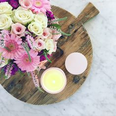 Blush Pink concrete Candle interior inspo and flowers on wooden board styled by Lemon  Canary www.lemoncanary.com.au