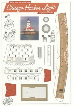 All sizes | Chicago Harbor Light, Chicago - Cut Out Postcard | Flickr - Photo Sharing!