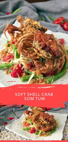 Deliciously crispy soft-shell crab coupled with a sour-spicy papaya salad. Give our Som Tum recipe a try! Recipe by Asian Inspirations. Papaya Recipes, Crab Recipes, Asian Seafood Recipe, Soft Shell Crab, Peking Duck, Coconut Milk Curry, Easy Asian Recipes, Thai Cooking, Famous Recipe