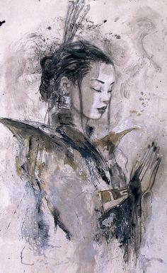 Luis Royo: Dead Moon uploaded by Lisa Beyond on We Heart It Geisha Art, Luis Royo, Spanish Artists, Fantasy Illustration, Digital Illustration, Art For Art Sake, Fantastic Art, Portrait Art, Asian Art
