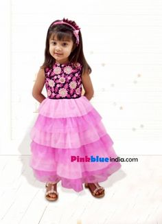 c9022baa4 Latest collection of stylish pink colored wedding party dress for little  kids in India. Shop