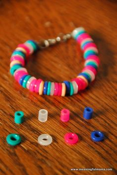 DIY Plastic Perler Bead Bracelets. Would be sweet to make with kids to give to grandparents or loved ones