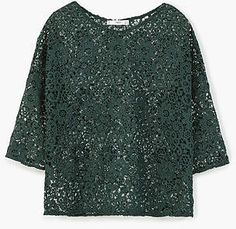 Mango Guipure Blouse Green Size UK 8 FF 03 for sale online Green Lace Top, Mango Suit, Mango Tops, Lacy Tops, Embellished Top, Sequin Top, Green Blouse, Sportswear, Underwear