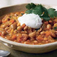Spicy Yellow Soybean, Lentil, and Carrot Curry   Look for canned soybeans next to the garbanzo beans in the supermarket.
