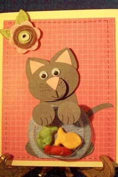 Punch Art Diane Klieger Naughty Cat by lorie Paper Punch Art, Punch Art Cards, Cat Cards, Kids Cards, Puzzle Lampe, Craft Punches, Animal Cards, Creative Cards, Scrapbook Cards