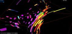 Une belle démo colorée des capacités d'animation de la librairie threejs.