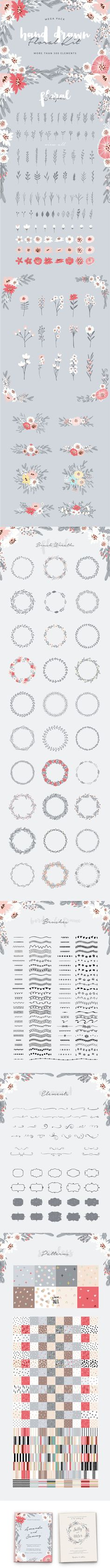 #HandDrawn #Floral Kit is the easiest and most flexible way to create stunning and unique #handdrawn #designs in minutes! 500 elements: Borders, #Frames and Floral Wreaths made as a brush so you can create stunning designs in an easy manner, #Ornaments, Labels, #Flowers, Leaves and #Bouquets which you can combine and create unique designs.