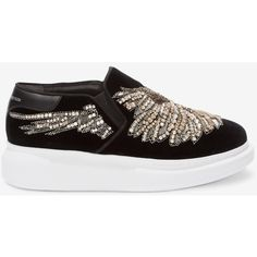 Alexander McQueen Embroidered Slip-on Sneaker ($955) ❤ liked on Polyvore featuring shoes, sneakers, metallic slip on sneakers, sequin sneakers, metallic slip-on sneakers, slip on shoes and metallic slip on shoes