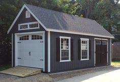 The bold shutters look nice on this 12x24 Garden Manor Cape Garage. Garage Shed, Detached Garage, Car Garage, Garage House, Garage Workshop, Diy Workshop, Garage Doors, Smart Storage, Storage Sheds
