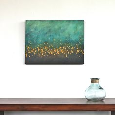 teal blue  turquoise aqua brown mustard yellow modern art mid century original acrylic painting on canvas. $265.00, via Etsy.