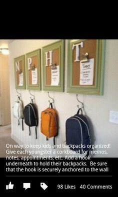 Family Command Center // Backpack Organization Entryway on pallet wall- like the hooks change the corkboards to canvases of Declan