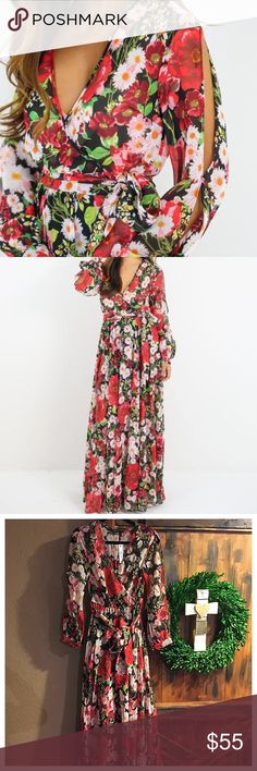 """Floral maxi dress This long sleeve  dress has a gorgeous silhouette! Stunning black with red and white floral printt dress. Elastic waistline and faux wrap waist has good stretch for all day comfort.  Shoulder to hem length is 59"""". Ark & Co Dresses Maxi"""