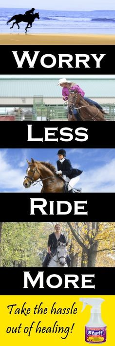 Spend more time riding and less time worrying about your horse's cuts, bites, scratches and rashes with Stat! This safe, non-toxic formula was developed by a hospital pharmacist and made with the highest quality ingredients to help wounds heal fast. Try Stat! and see for yourself the healing power of the next generation of wound and skin care for your horse.