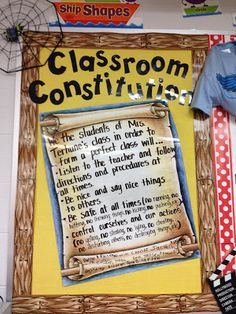 On the first day of school we sit down as a class and make our own classroom rules during a discussion by the students, while being facilitated by me.   Surprisingly, student created rules are often the same as – or even tougher than – rules a teacher might create.   The rules the students create become the standard for expected behavior by which all students agree.   These classroom rules, also known as our Classroom Constitution are signed by the students and posted in our classroom 4th Grade Social Studies, Social Studies Classroom, Social Studies Activities, Classroom Rules, Teaching Social Studies, Classroom Organization, Classroom Management, Classroom Ideas, Behavior Management