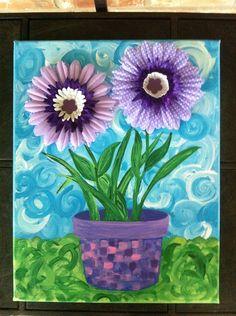 cute! - Potted Purple 3-D Flowers. 28$, via Etsy.