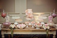 Pink wedding dessert table.