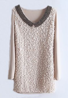 Beige Beading V-neck Wrap Cotton T-Shirt