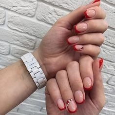 Pin on Nagelideen Red Tip Nails, Purple Nails, Nude Nails, Gel Nails, French Nails, Star Nail Designs, Beautiful Nail Designs, Nagel Gel, Stylish Nails