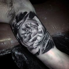 Glorious Grey Guys Pocket Watch Tattoo On Upper Arms Tattoos Masculinas, Neue Tattoos, Tattoo On, Trendy Tattoos, Small Tattoos, Sleeve Tattoos, Cool Tattoos, Bicep Tattoo Men, Tattoo Arm Designs
