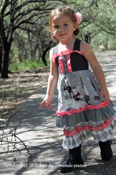 Malibu Mega Ruffle Dress child's Boutique Ruffle dress PDF pattern tutorial for girls, children, babies and toddlers. $7.99, via Etsy.