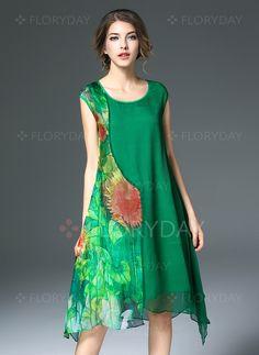 Vestidos de - $111.36 - Seda Outros Sem magas Longuete Nenhum Vestidos de…