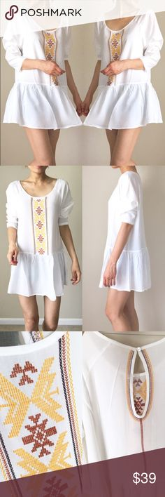 """✳️Tunic top dress with detail embroidered design Tunic top dress. Well made with embroidered detail. Well made and top fabric and quality. Loose fit. Size S: length : 31"""", chest: 42"""" all around, width 40""""., M; length ; 32"""", chest; 42"""" all around and width; 41. Size L: add additional 1"""". 100%Rayon Tops Tunics"""