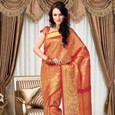 Red and Gold Color Shot Tone Pure Silk Handwoven Saree with Blouse