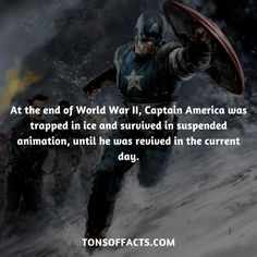 At the end of World War II, Captain America was trapped in ice and survived in suspended animation, until he was revived in the current day.  #captainamerica #theavengers #comics #marvel #interesting #fact #facts #trivia #superheroes #memes #1
