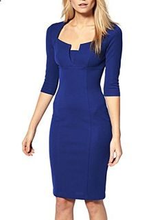 Miusol Women's Business Tunic 3/4 Sleeves Bodycon Pencil Dress  Go to the website to read more description.
