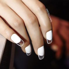 nail art by unistella (park eun kyung) White negative space nails. i think this is really cool.