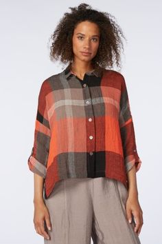 Sahara Bold Check Linen Box Shirt